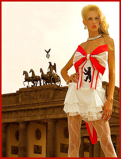 The model Vera Gafron poses in front of the Brandenburg Gate for the advertising campaign to Europe's largest open-air fashion festival.