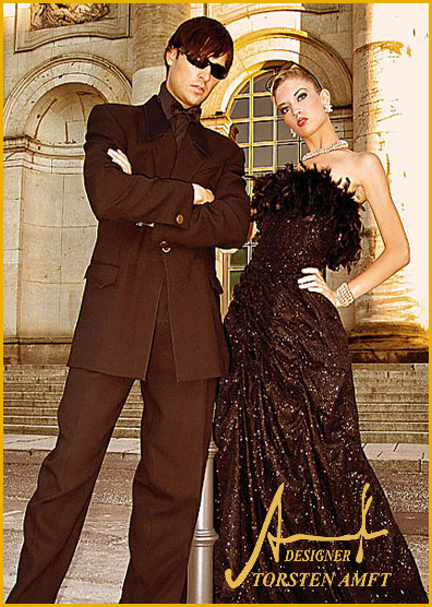 The international model Vera Gafron in a great black gala gown with handcrafted frame of plume and diamond crystals & model Marcel Haas in a black smoking with silk collar manufactured by german fashion designer Torsten Amft from Berlin.
